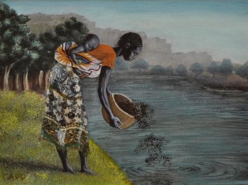 Al fiume - 2011 olio su tela più innesti in tessuto 30x40