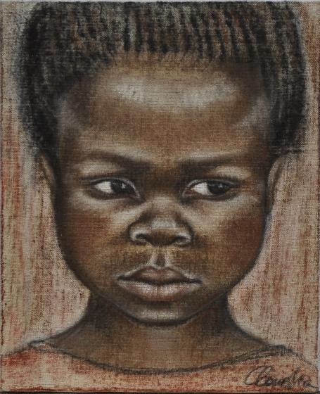 Ritratto di bambina - 2003 sanguigna su tela grezza 25x20