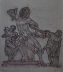 Laocoonte - 2000 sanguigna e gesso su carta 60x42