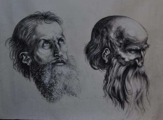 Il giovane e il vecchio - 2000 carboncino e gesso su carta 42x60