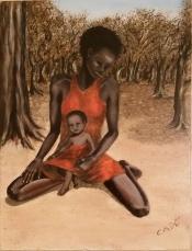 Maternità - 2014 olio su tela più innesti in tessuto 50x40